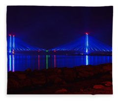 Indian River Inlet Bridge After Dark Fleece Blanket