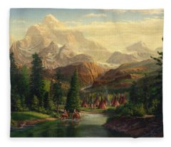 Indian Village Trapper Western Mountain Landscape Oil Painting - Native Americans Americana Stream Fleece Blanket
