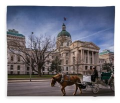 Indiana Capital Building - Front With Horse Passing Fleece Blanket