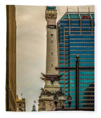 Indiana - Monument Circle With State Capital Building Fleece Blanket