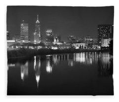 Indianapolis Skyline At Night Indy Downtown Black And White Bw Panorama Fleece Blanket