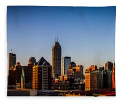 Indianapolis Skyline - South Fleece Blanket