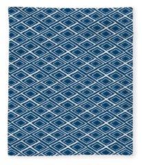 Indigo And White Small Diamonds- Pattern Fleece Blanket