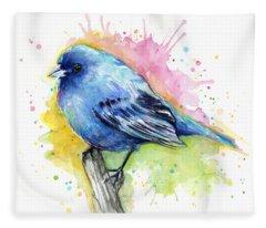 Indigo Bunting Blue Bird Watercolor Fleece Blanket