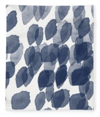 Indigo Rain- Abstract Blue And White Painting Fleece Blanket