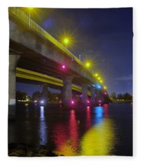 Ingraham Street Bridge At Night Fleece Blanket