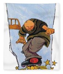 Inline Skates Rail Grind Fleece Blanket