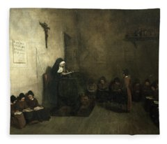 Interior Of A School For Orphaned Girls, 1850 Oil On Canvas Fleece Blanket