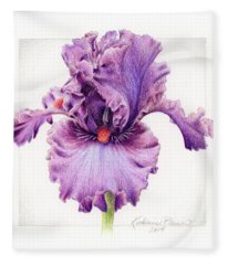 Iris 1 Asian Plum Fleece Blanket