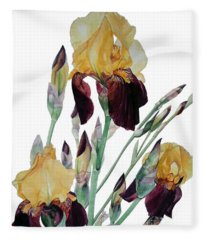 Watercolor Of Tall Bearded Iris In Yellow And Maroon I Call Iris Beethoven Fleece Blanket
