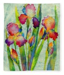 Iris Elegance On Green Fleece Blanket