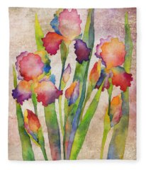 Iris Elegance On Pink Fleece Blanket