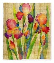Iris Elegance On Yellow Fleece Blanket