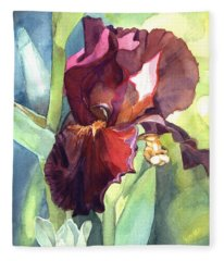 Watercolor Of A Tall Bearded Iris Called Sultan's Palace In Red And Burgundy Fleece Blanket
