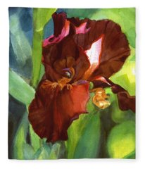 Watercolor Of A Tall Bearded Iris In Sienna Red Fleece Blanket