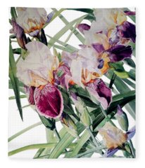 Watercolor Of Tall Bearded Irises I Call Iris Vivaldi Spring Fleece Blanket