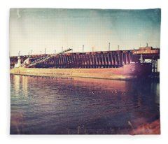 Iron Ore Freighter In Dock Fleece Blanket