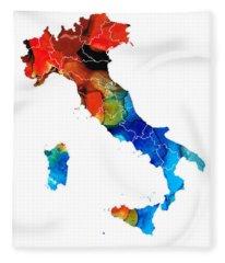 Italy - Italian Map By Sharon Cummings Fleece Blanket