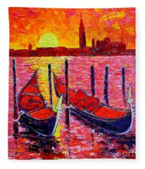 Italy - Venice Gondolas - Abstract Fiery Sunrise  Fleece Blanket