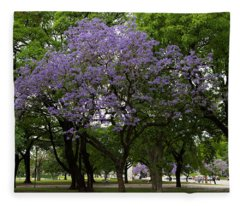Jacaranda In The Park Fleece Blanket