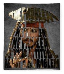 Jack Sparrow Quote Portrait Typography Artwork Fleece Blanket