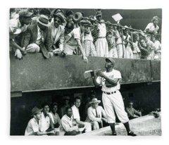 Jackie Robinson Signs Autographs Vintage Baseball Fleece Blanket