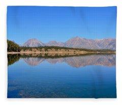 Jackson Lake Reflections Fleece Blanket