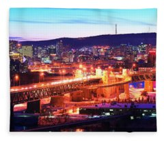 Jacques Cartier Bridge With City Lit Fleece Blanket