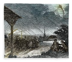 Jacques De Romas Kite Experiment, 1753 Fleece Blanket