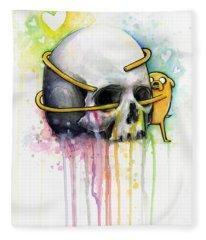Jake The Dog Hugging Skull Adventure Time Art Fleece Blanket
