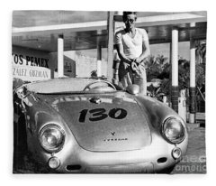 James Dean Filling His Spyder With Gas Black And White Fleece Blanket