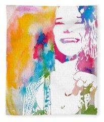 Janis Joplin Watercolor Fleece Blanket