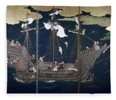 Japan Portuguese Ship Fleece Blanket
