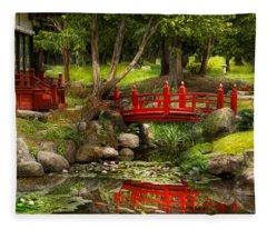 Japanese Garden - Meditation Fleece Blanket