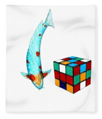 Japanese Koi Ochiba Cubism Painting Fleece Blanket