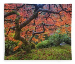 Japanese Maple Tree Fleece Blanket