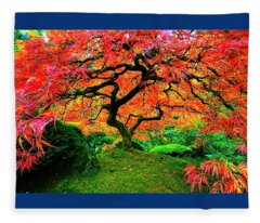 Japanese Red Maple Fleece Blanket