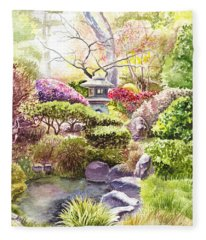 San Francisco Golden Gate Park Japanese Tea Garden  Fleece Blanket