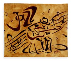 Jazz Abstract Coffee Painting Fleece Blanket