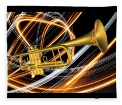 Jazz Art Trumpet Fleece Blanket