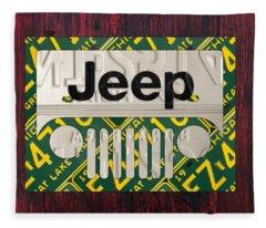 Jeep Vintage Logo Recycled License Plate Art Fleece Blanket