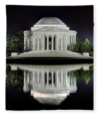 Jefferson Memorial - Night Reflection Fleece Blanket