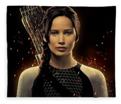 Jennifer Lawrence As Katniss Everdeen Fleece Blanket