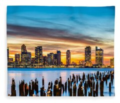 Jersey City Panorama At Sunset Fleece Blanket