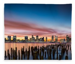 Jersey City Skyline At Sunset Fleece Blanket