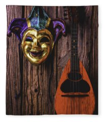 Jester Mask And Mandolin Fleece Blanket