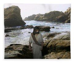 Jesus Christ- In The Company Of Angels Fleece Blanket
