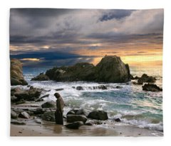 Jesus' Sunset Fleece Blanket