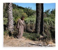 Jesus- Walk With Me Fleece Blanket