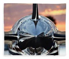 Airplane At Sunset Fleece Blanket